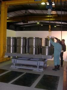 weighing machine Class II undergoing adjustment with standard weights
